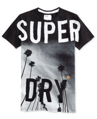 Superdry Men's Scratched Out Long Line Graphic Print Cotton T Shirt Black