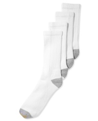 Gold Toe Men's Socks Athletic Cushioned Crew 4 Pack White