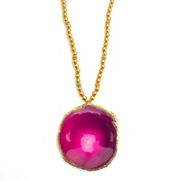 Amanda Marcucci Long Pink Agate Necklace Pink Purple Gold