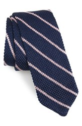 The Tie Bar Stripe Knit Silk Navy