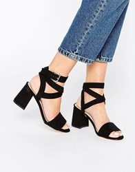 Truffle Collection Wrap Around Ankle Strap Mid Heel Sandal Black