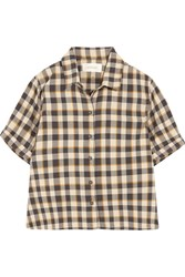 The Great Bias Cropped Checked Cotton Shirt Midnight Blue