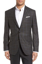 Ted Baker Men's London Jay Trim Fit Plaid Wool Sport Coat Charcoal