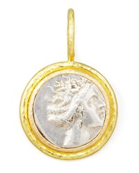 Ancient Greek Silver And 19K Gold Coin Pendant Elizabeth Locke Silver Gold