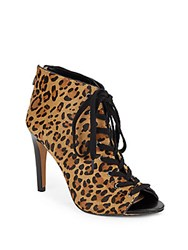 French Connection Quillan Calf Hair Peep Toe Booties Leopard
