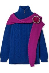 Christopher Kane Oversized Crystal Embellished Layered Wool Sweater Royal Blue