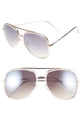 Quay Australia Women's 'Needing Fame' 65Mm Aviator Sunglasses Clear Brown Clear Brown