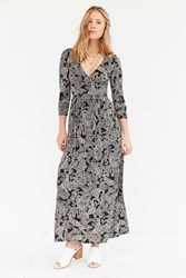 Ecote Surplice Printed Long Sleeve Maxi Dress Black Multi
