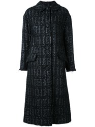Simone Rocha Tweed Long Coat Black