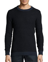 Selected Textured Cotton Sweater Dark Sapphire
