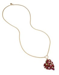Betsey Johnson Semi Precious Stone And Crystal Roses Heart Pendant Necklace Red