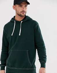 Pull And Bear Hoodie With Contrast Stitch In Green Green