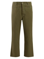 Loewe Logo Patch Cotton Trousers Green