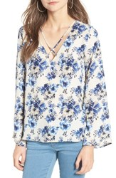 Lush Women's Cross Front Blouse Ivory Blue Floral