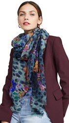 Franco Ferrari Animal And Floral Print Scarf Blue