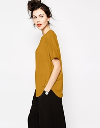 Monki Curved Hem T Shirt Mustard