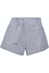 10 Crosby By Derek Lam Striped Cotton Shorts Gray