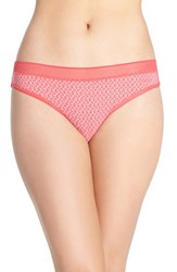 Dkny Women's 'Sig Tailored' Thong Pink Flirt Print