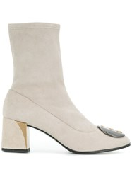 Fabi Embellished Ankle Boots Nude And Neutrals