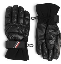 Moncler Oncler Grenoble Shell Leather And Jersey Down Ski Gloves Black