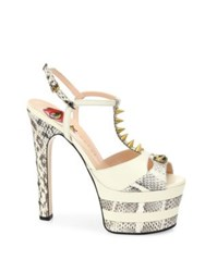 Gucci Angel Leather And Snakeskin Peep Toe Platform T Strap Sandals White Multi
