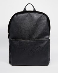 Asos Backpack In Black Faux Leather With Metal Zips