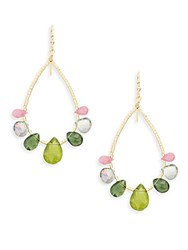 Eva Hanusova Gem Rush Green Garnet Sapphire Apatite Mystic Topaz And 14K Gold Fill Teardrop Earrings No Color