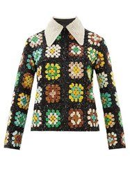 Ashish Faux Pearl Collar Sequinned Jacket Green Multi