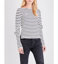 Moandco. Striped Long Sleeved Pure Cotton T Shirt Black And White