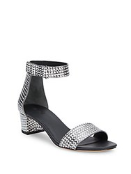 Vince Rita Leather Ankle Strap Sandals Black White