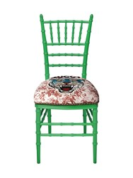 Gucci Chiavari Chair With Embroidered Tiger Green Pink