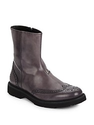 Giorgio Armani Leather Wingtip Boots Grey