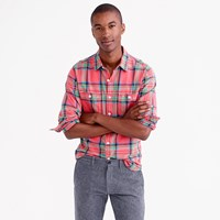 J.Crew Midweight Flannel Shirt In Lodge Orange Plaid