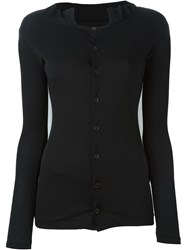 Yohji Yamamoto Ruffled Collar Button Down Cardigan Black