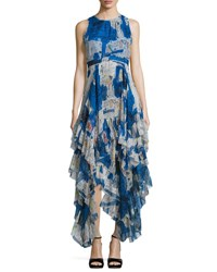 Alice Olivia Ilia Printed Tiered Ruffle Maxi Dress Multicolor Multi Colors