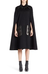 Fendi Women's Leather Pocket Wool Cape Black Black