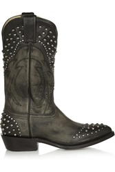 Frye Billy Studded Leather Cowboy Boots Black