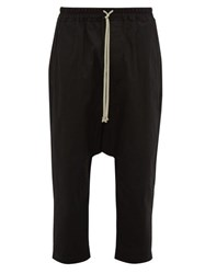 Rick Owens Cropped Stretch Cotton Twill Trousers Black