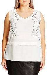 City Chic Plus Size Women's Mirrored Studded Top
