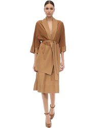 Agnona Belted Woven Silk Cardigan Brown