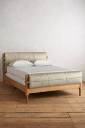 Anthropologie Premium Leather Rhys Bed Ivory