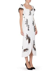 Roland Mouret Heywood Floral Lace Dress White Black Sapphire Blue Black