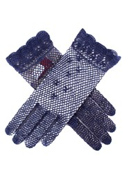 Dents Ladies Cotton Crochet Gloves Navy