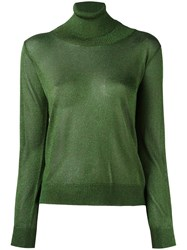 D'enia Metallic Turtleneck Knit Blouse Green