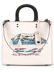 Coach Sequins Embellished Tote White