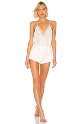 Flora Nikrooz Genevive Charmeuse Lace Romper Ivory