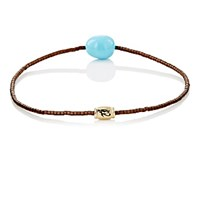 Luis Morais Men's Eye Of Horus Beaded Bracelet Turquoise