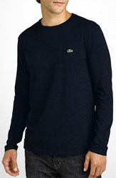 Men's Lacoste Long Sleeve Pima Cotton T Shirt Navy Blue