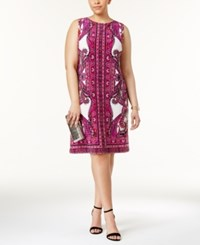 Inc International Concepts Plus Size Printed Sheath Dress Only At Macy's Magenta Paisley