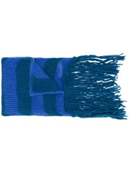 Diesel Striped Scarf Nylon Mohair Wool Blue
